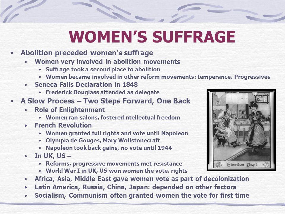 WOMEN'S SUFFRAGE Abolition preceded women's suffrage