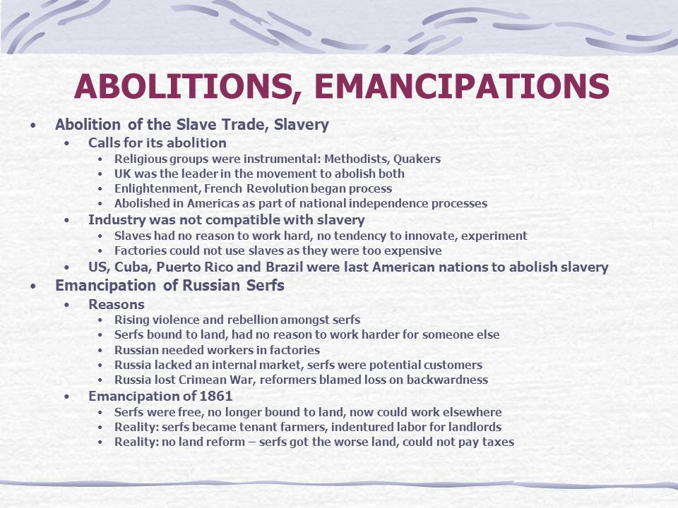 ABOLITIONS, EMANCIPATIONS