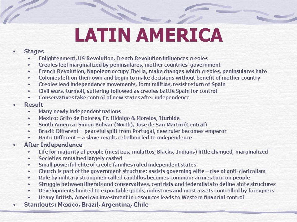 LATIN AMERICA Stages Result After Independence