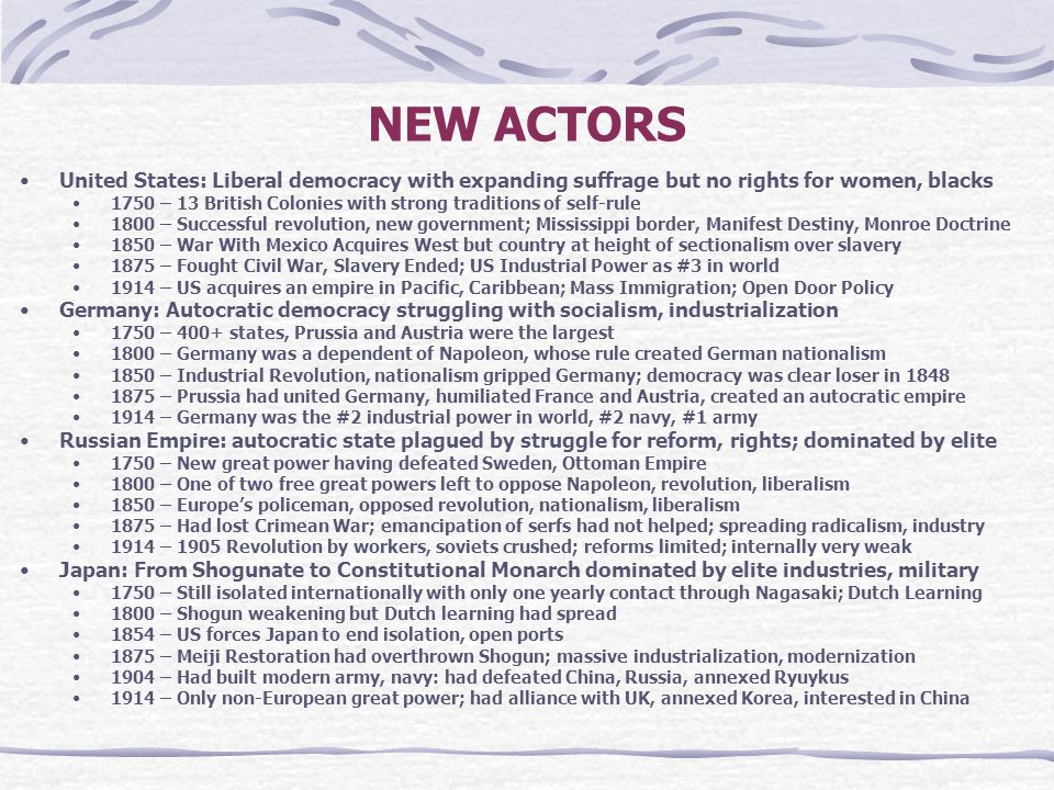 NEW ACTORS United States: Liberal democracy with expanding suffrage but no rights for women, blacks.