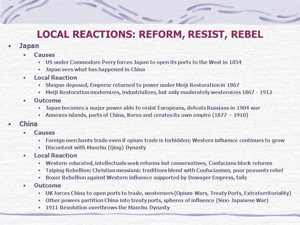 LOCAL REACTIONS: REFORM, RESIST, REBEL