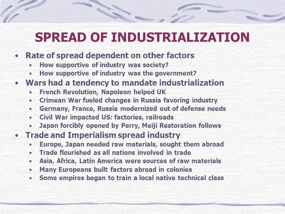 SPREAD OF INDUSTRIALIZATION