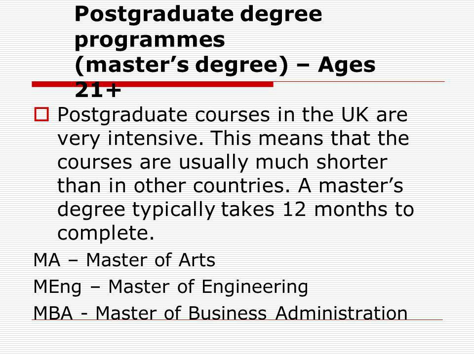 Postgraduate degree programmes (master's degree) – Ages 21+