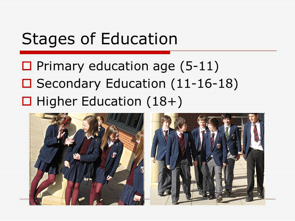 Stages of Education Primary education age (5-11)