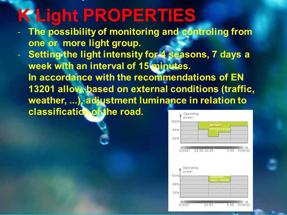 K Light PROPERTIES The possibility of monitoring and controling from one or more light group.