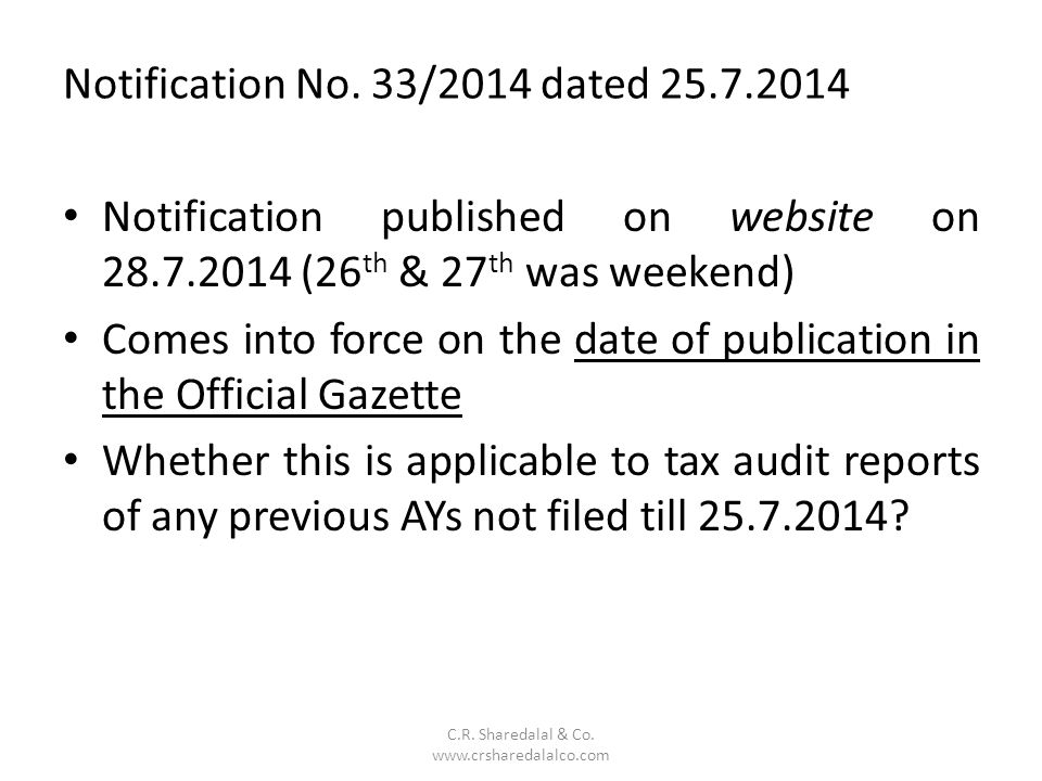 Notification No. 33/2014 dated 25.7.2014