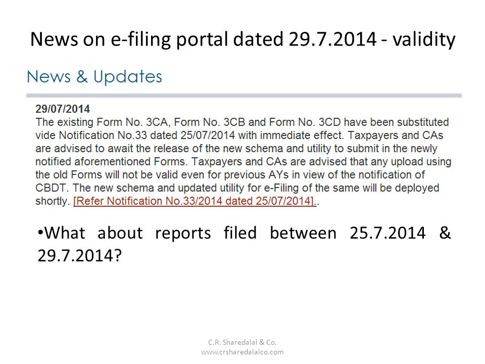 News on e-filing portal dated 29.7.2014 - validity
