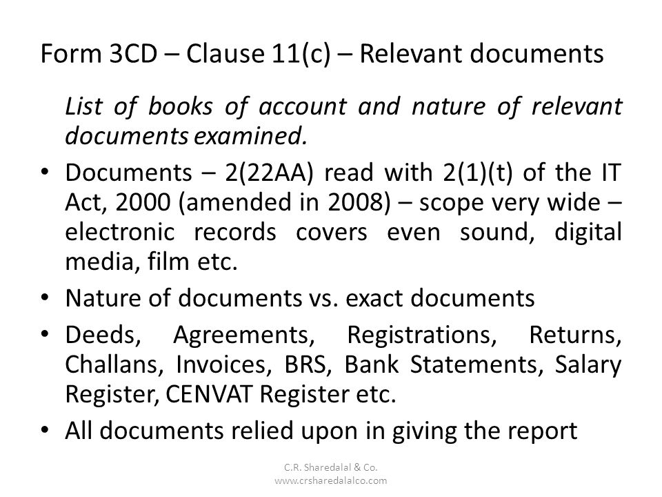 Form 3CD – Clause 11(c) – Relevant documents