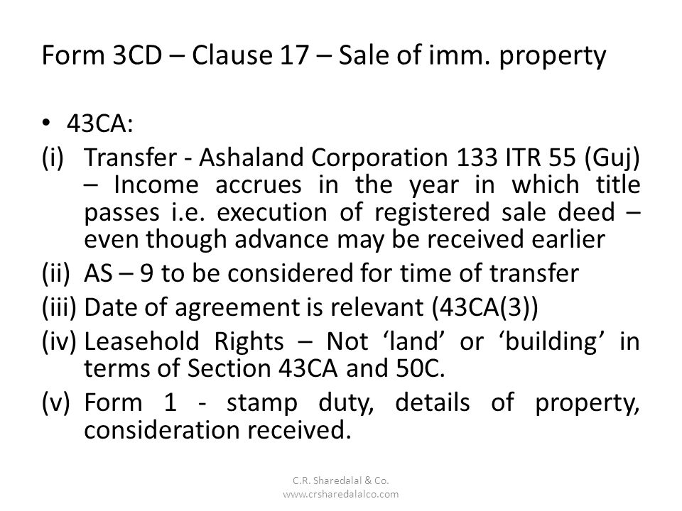 Form 3CD – Clause 17 – Sale of imm. property