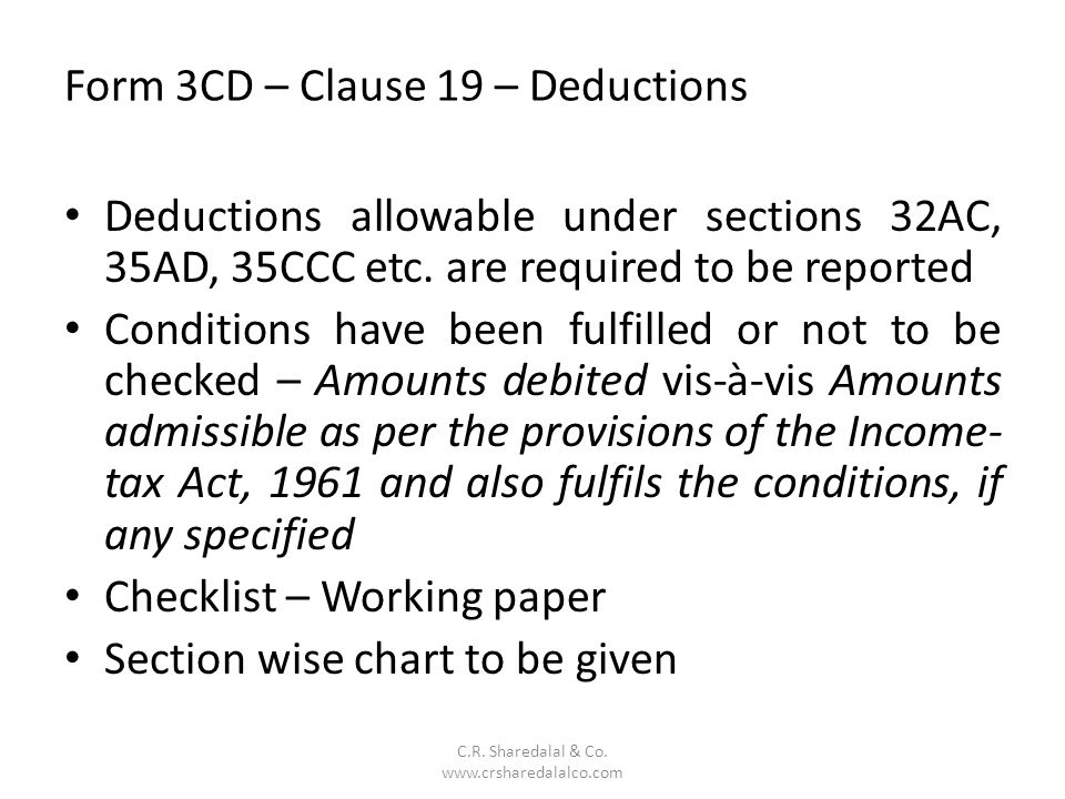 Form 3CD – Clause 19 – Deductions