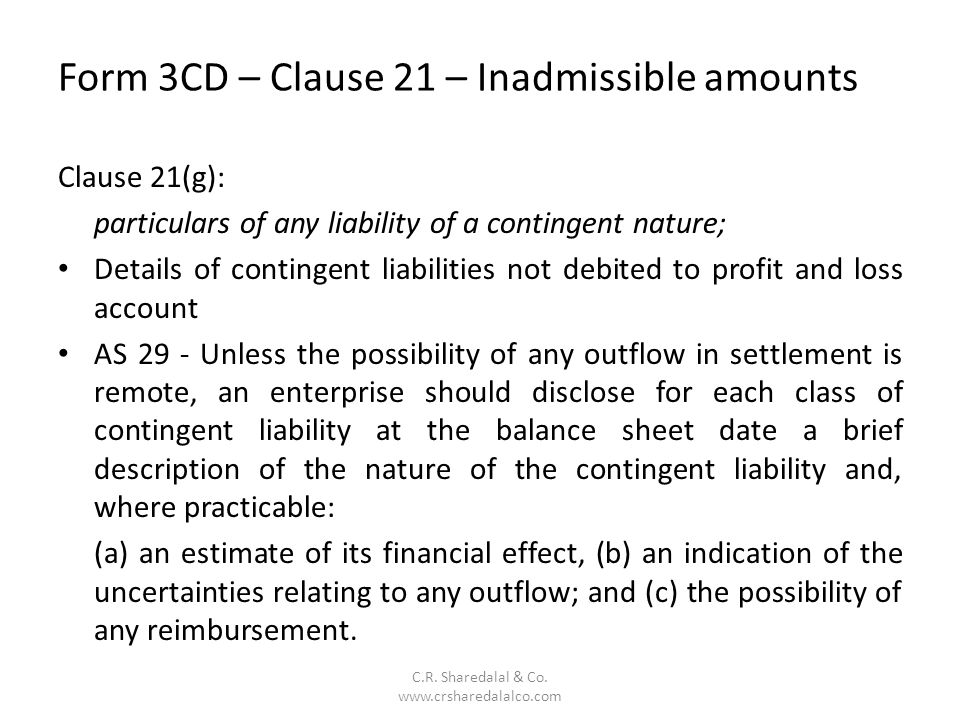 Form 3CD – Clause 21 – Inadmissible amounts