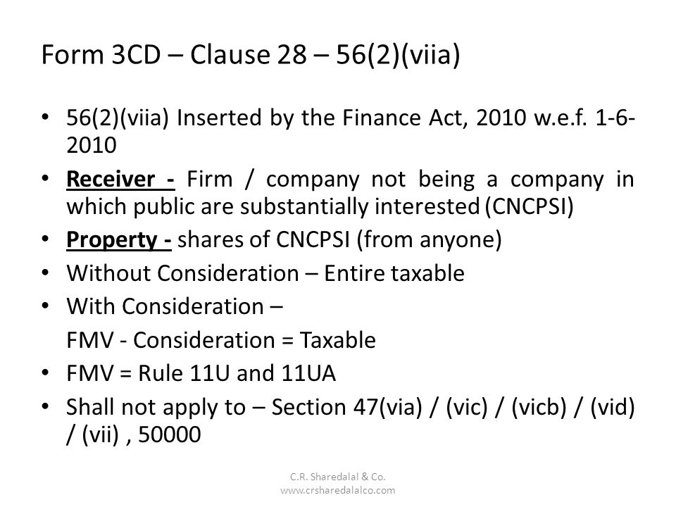 Form 3CD – Clause 28 – 56(2)(viia)