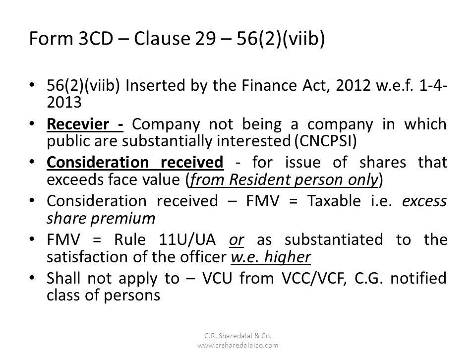 Form 3CD – Clause 29 – 56(2)(viib)