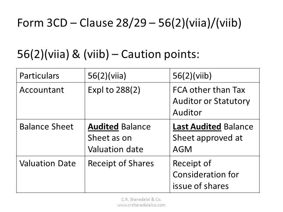 Form 3CD – Clause 28/29 – 56(2)(viia)/(viib)