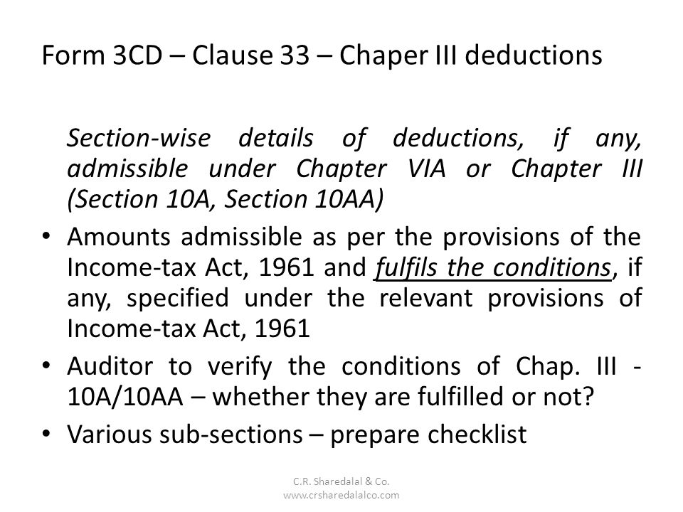 Form 3CD – Clause 33 – Chaper III deductions