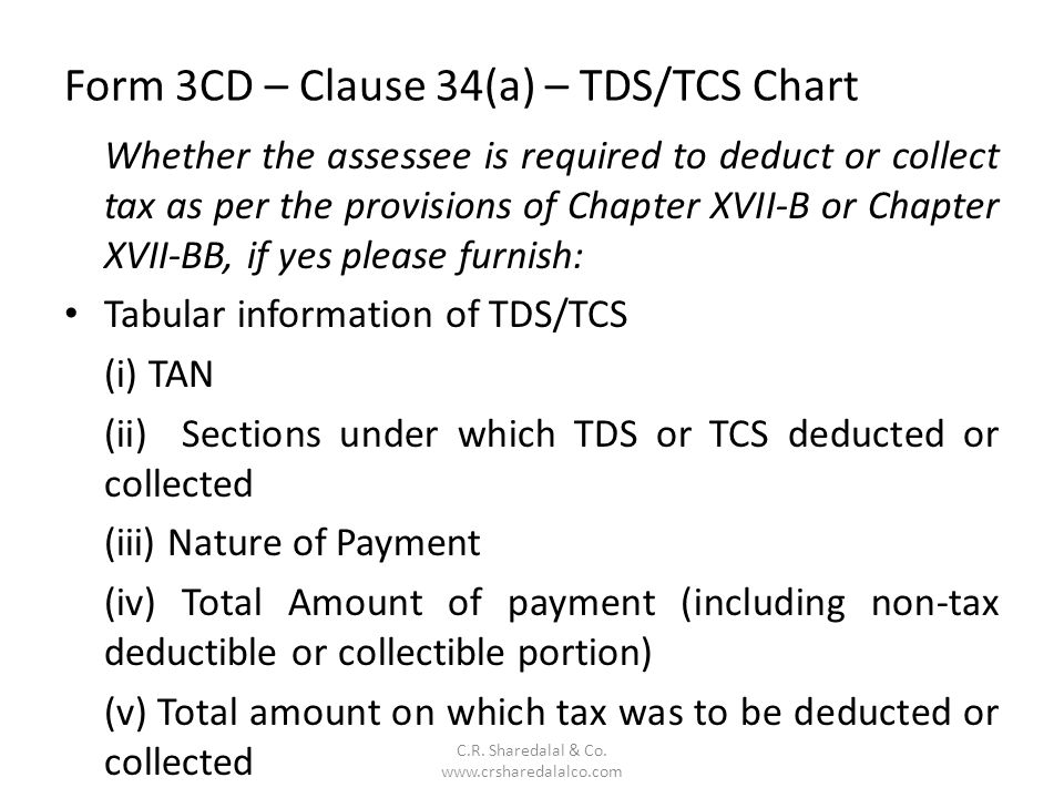 Form 3CD – Clause 34(a) – TDS/TCS Chart