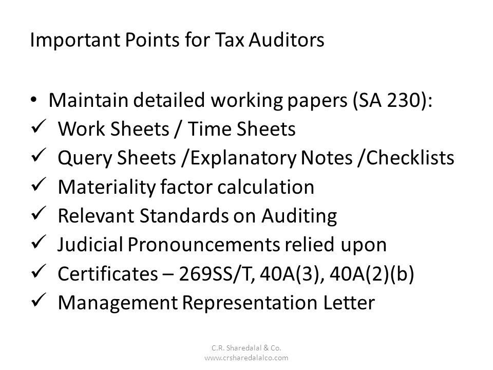 Important Points for Tax Auditors