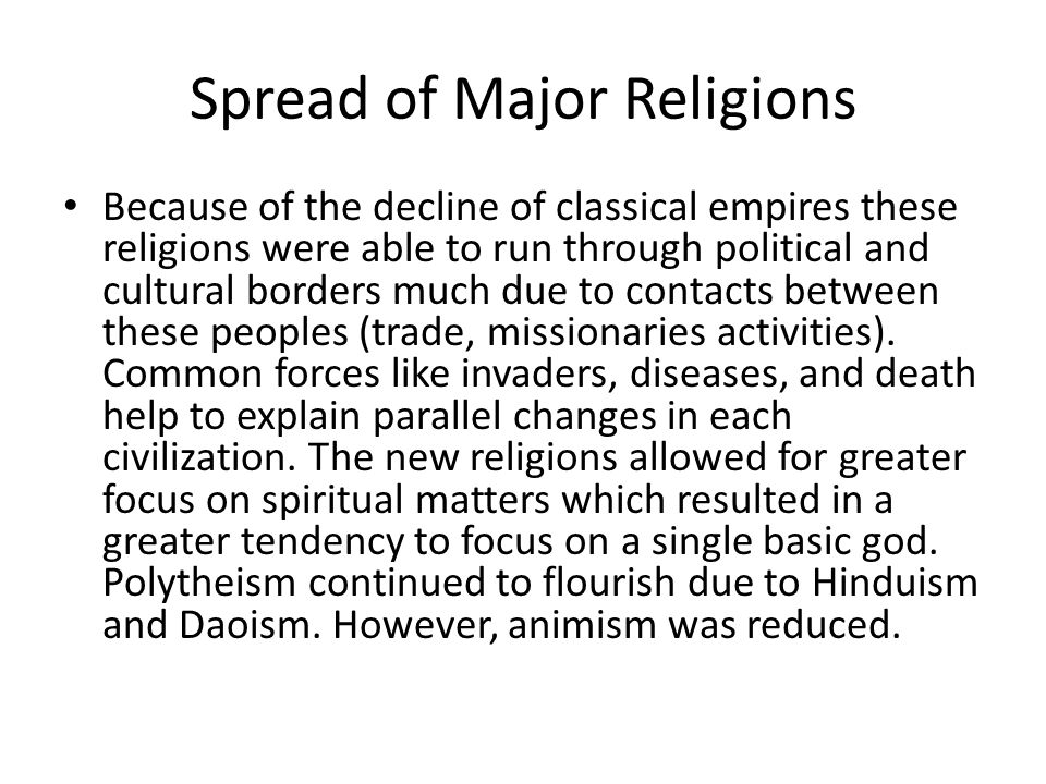 Spread of Major Religions