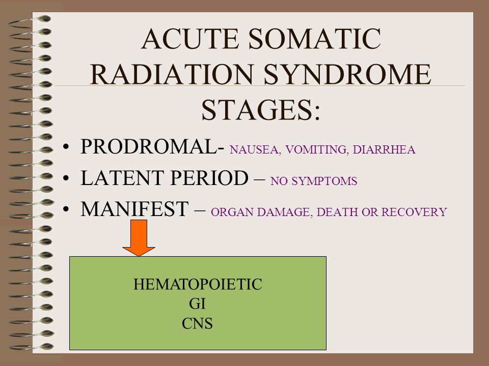 ACUTE SOMATIC RADIATION SYNDROME STAGES:
