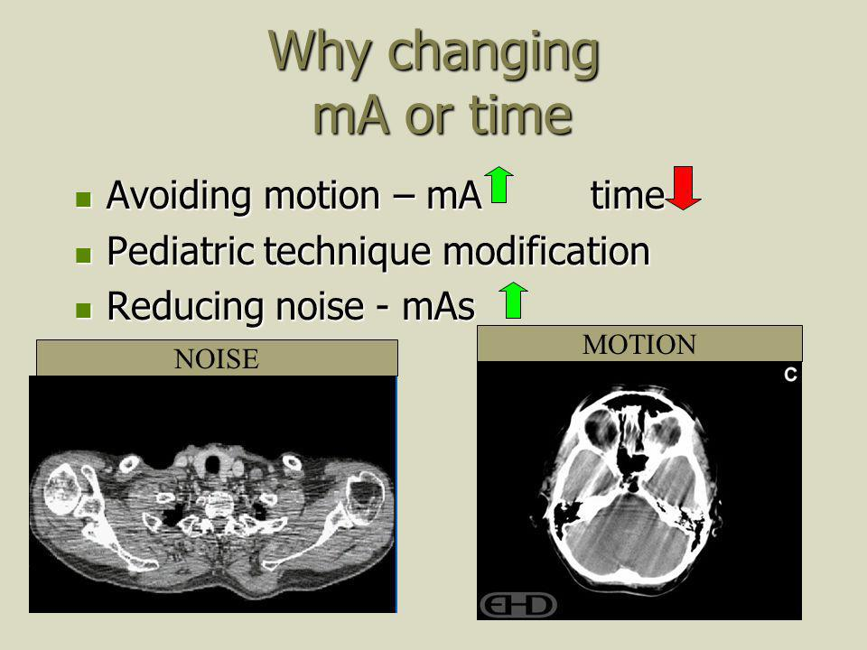 Why changing mA or time Avoiding motion – mA time