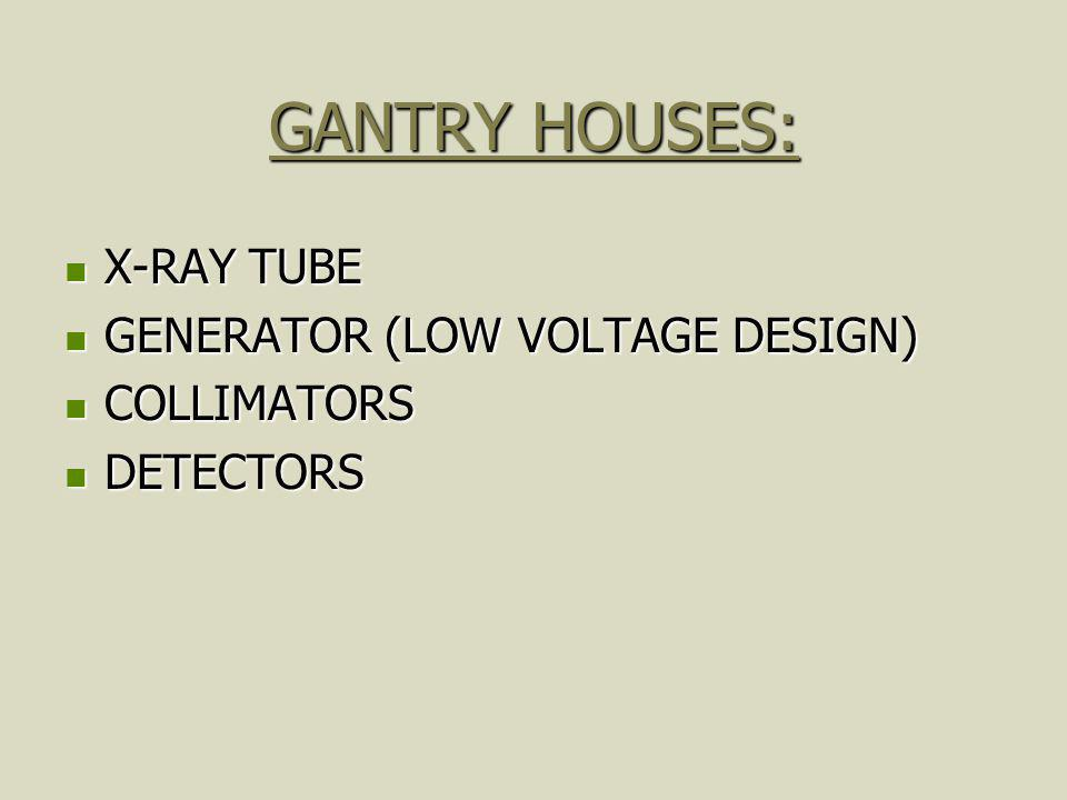 GANTRY HOUSES: X-RAY TUBE GENERATOR (LOW VOLTAGE DESIGN) COLLIMATORS