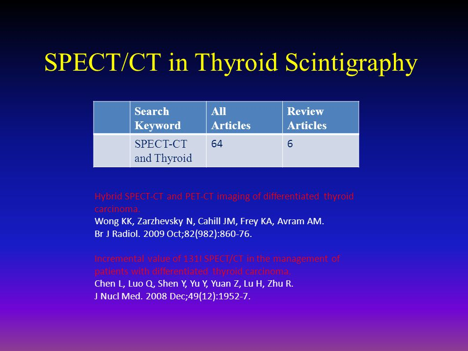 SPECT/CT in Thyroid Scintigraphy