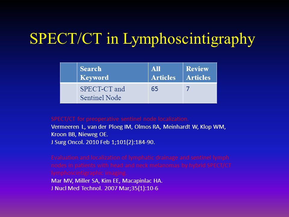 SPECT/CT in Lymphoscintigraphy