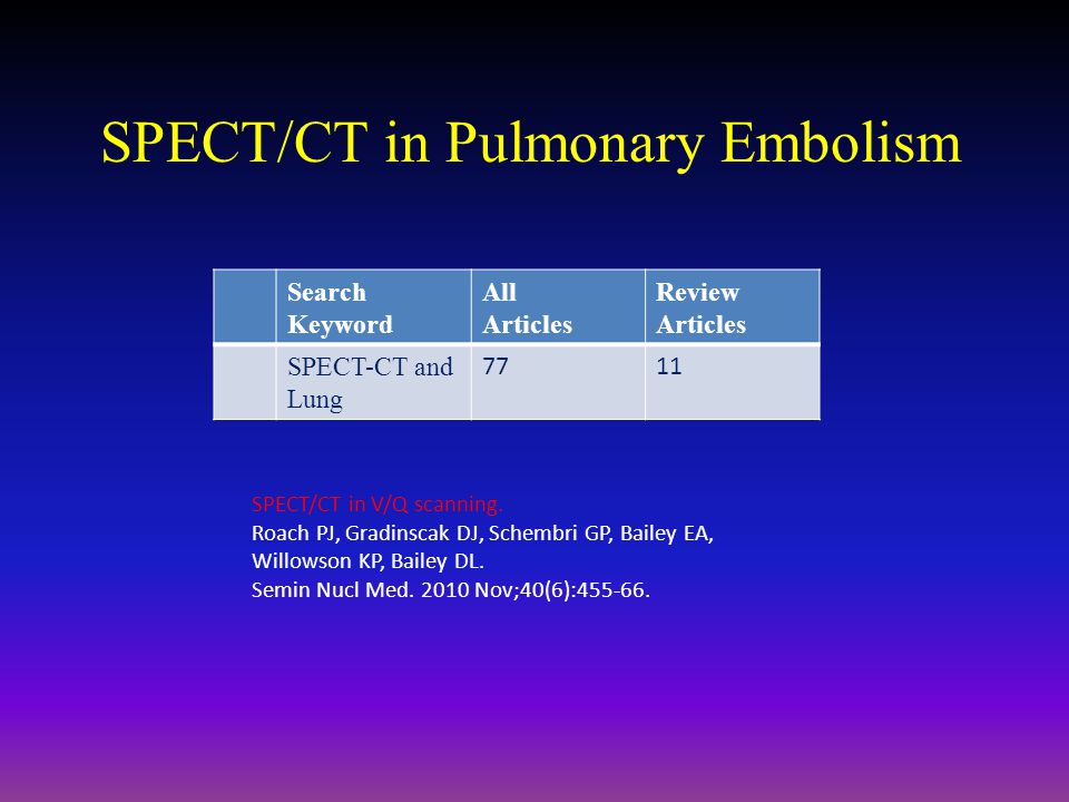SPECT/CT in Pulmonary Embolism