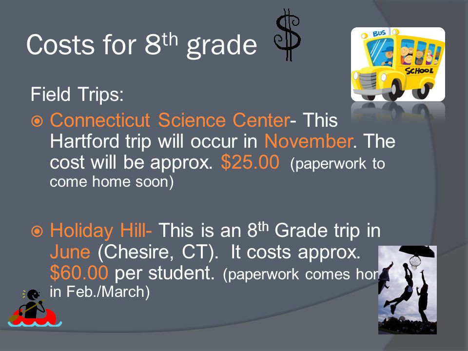 Costs for 8th grade Field Trips: