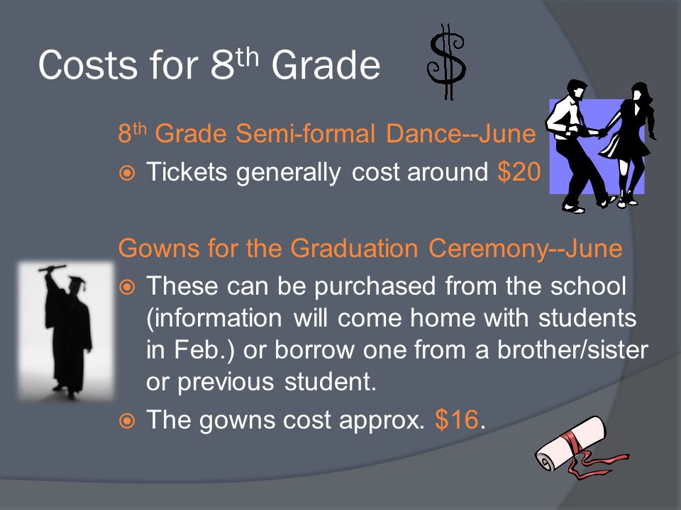 Costs for 8th Grade 8th Grade Semi-formal Dance--June