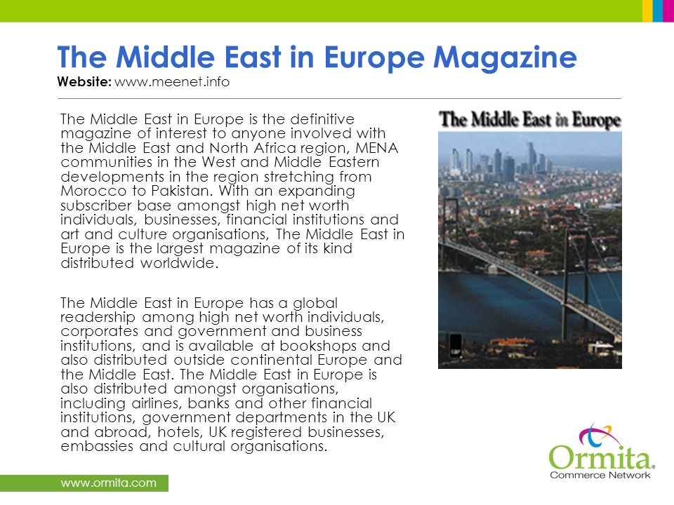 The Middle East in Europe Magazine Website: www.meenet.info