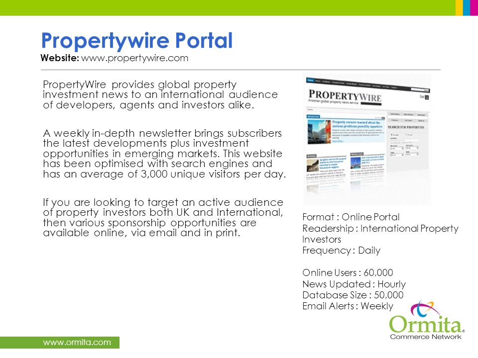 Propertywire Portal Website: www.propertywire.com