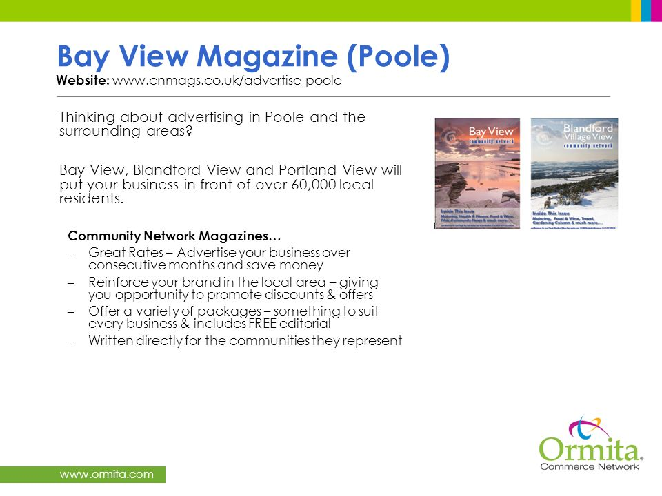Bay View Magazine (Poole) Website: www.cnmags.co.uk/advertise-poole