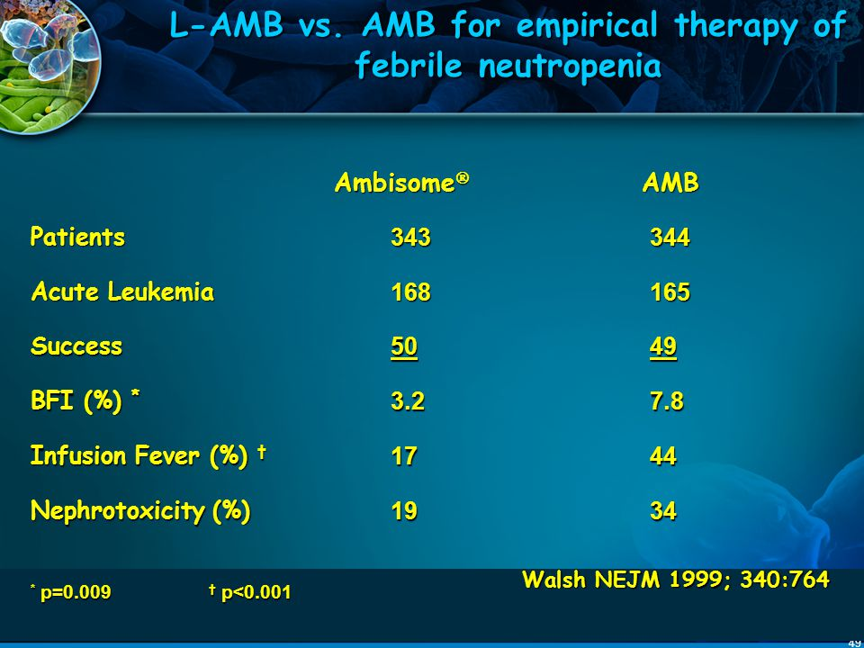 L-AMB vs. AMB for empirical therapy of febrile neutropenia