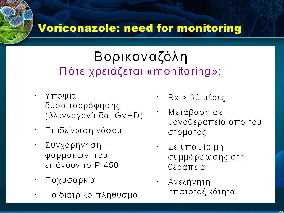 Voriconazole: need for monitoring