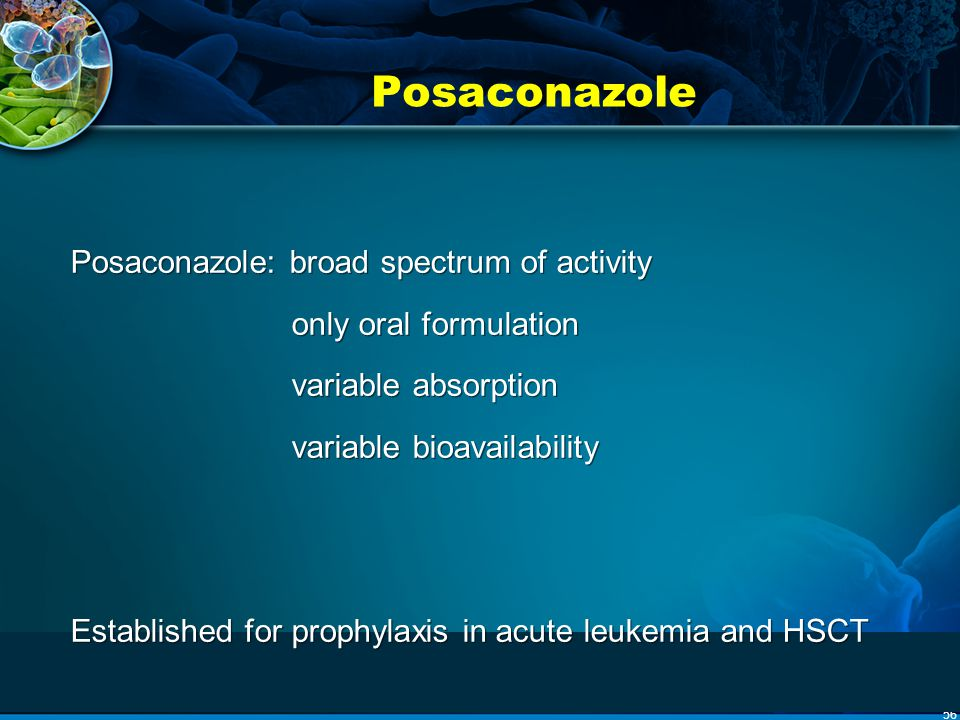 Posaconazole Posaconazole: broad spectrum of activity