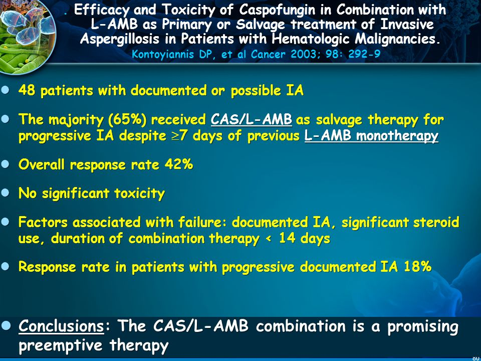 . Efficacy and Toxicity of Caspofungin in Combination with L-AMB as Primary or Salvage treatment of Invasive Aspergillosis in Patients with Hematologic Malignancies. Kontoyiannis DP, et al Cancer 2003; 98: 292-9
