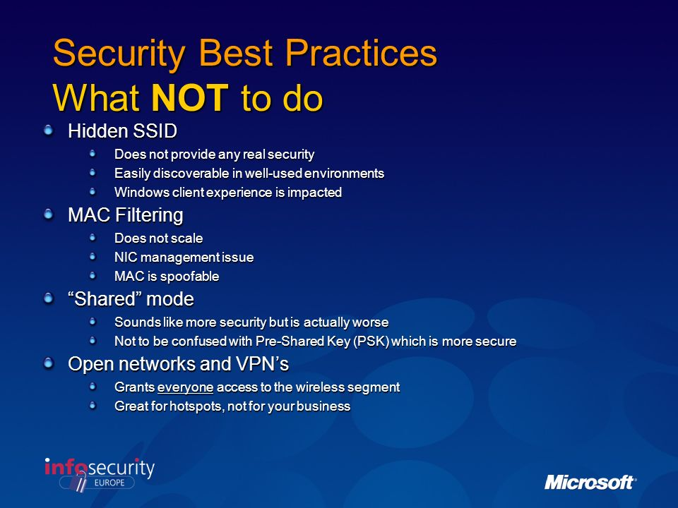 Security Best Practices What NOT to do