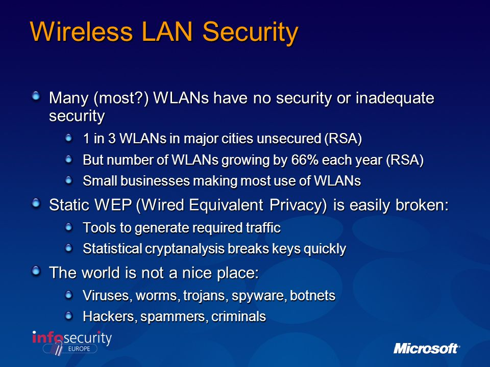 Wireless LAN Security Many (most ) WLANs have no security or inadequate security. 1 in 3 WLANs in major cities unsecured (RSA)