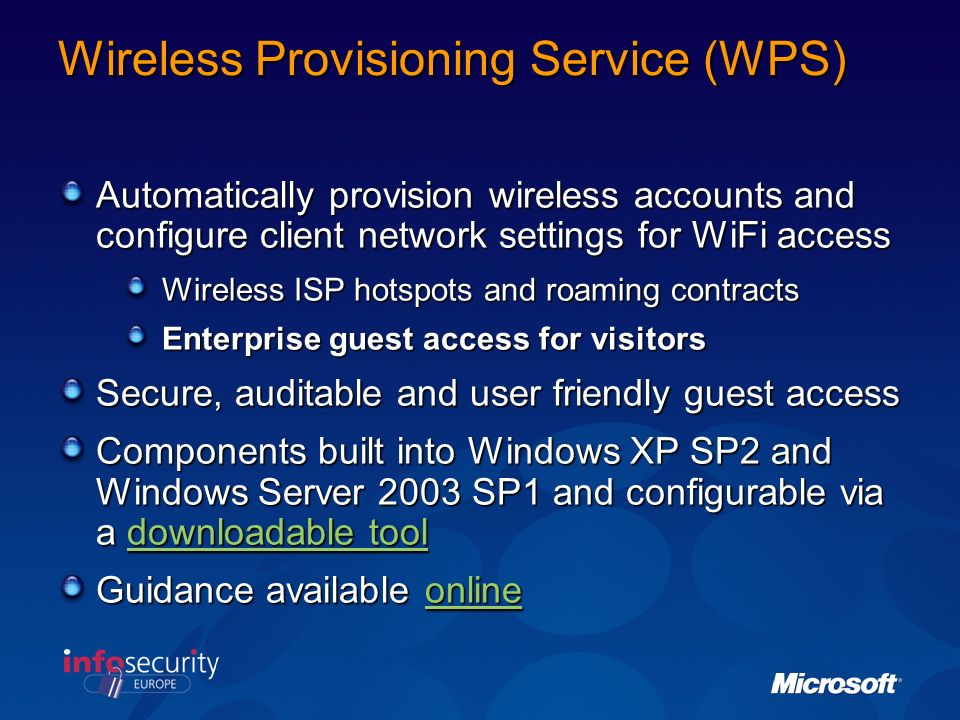 Wireless Provisioning Service (WPS)