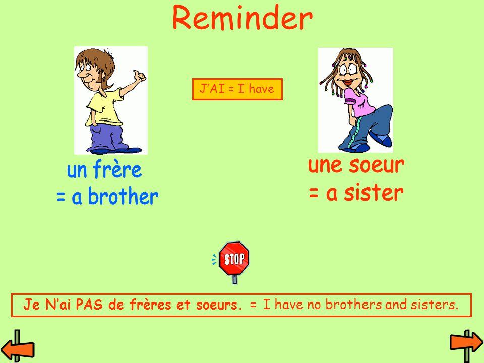 Je N'ai PAS de frères et soeurs. = I have no brothers and sisters.