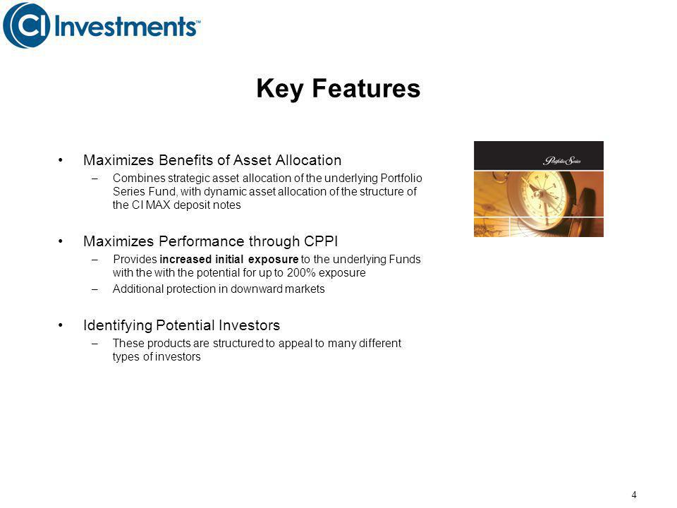 Key Features Maximizes Benefits of Asset Allocation