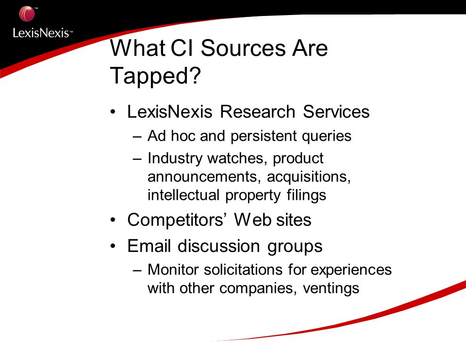 What CI Sources Are Tapped