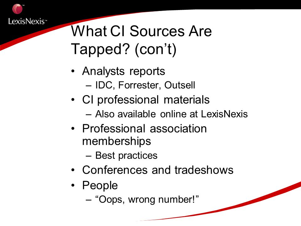 What CI Sources Are Tapped (con't)