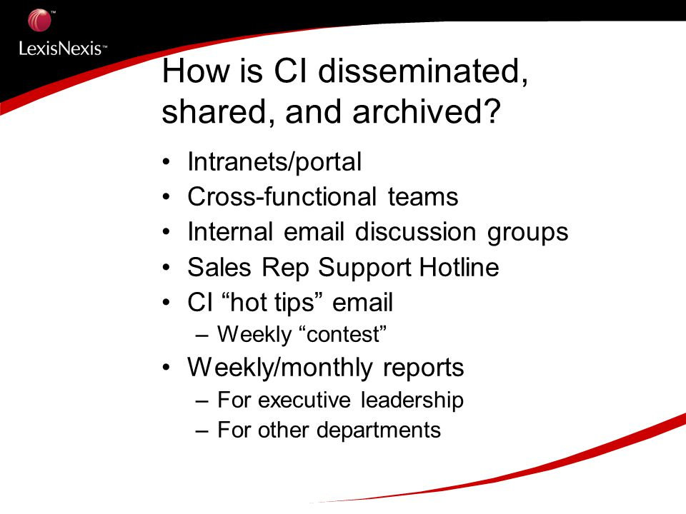 How is CI disseminated, shared, and archived