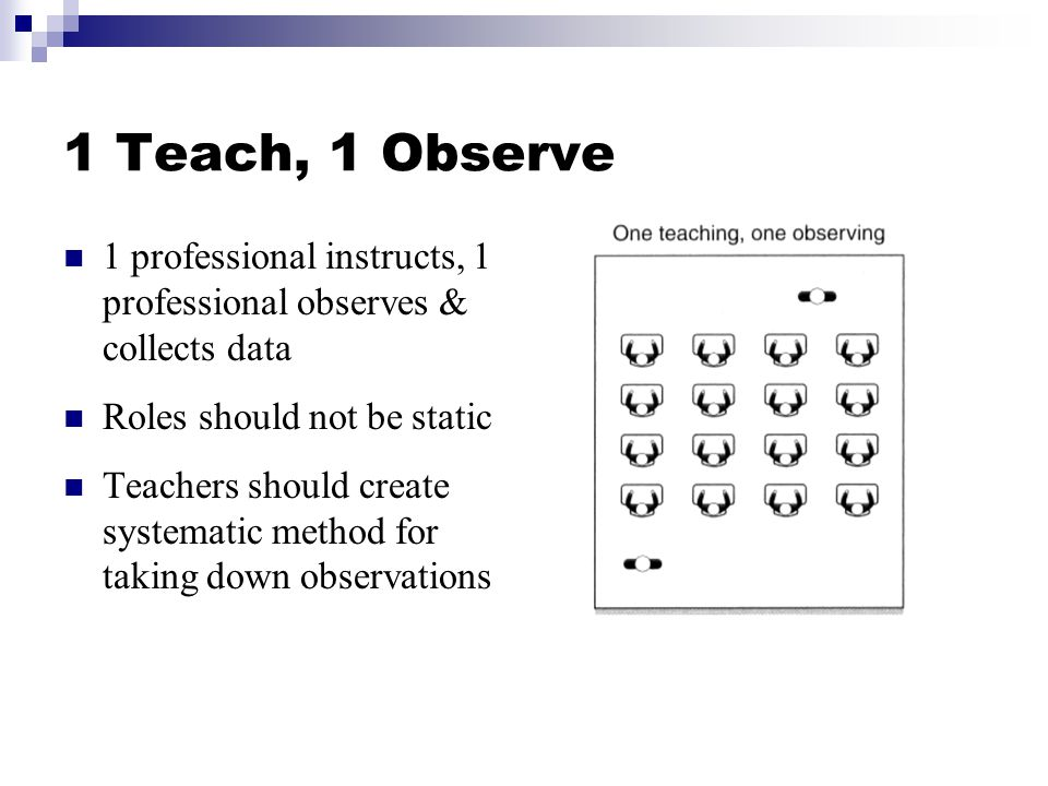 1 Teach, 1 Observe 1 professional instructs, 1 professional observes & collects data. Roles should not be static.