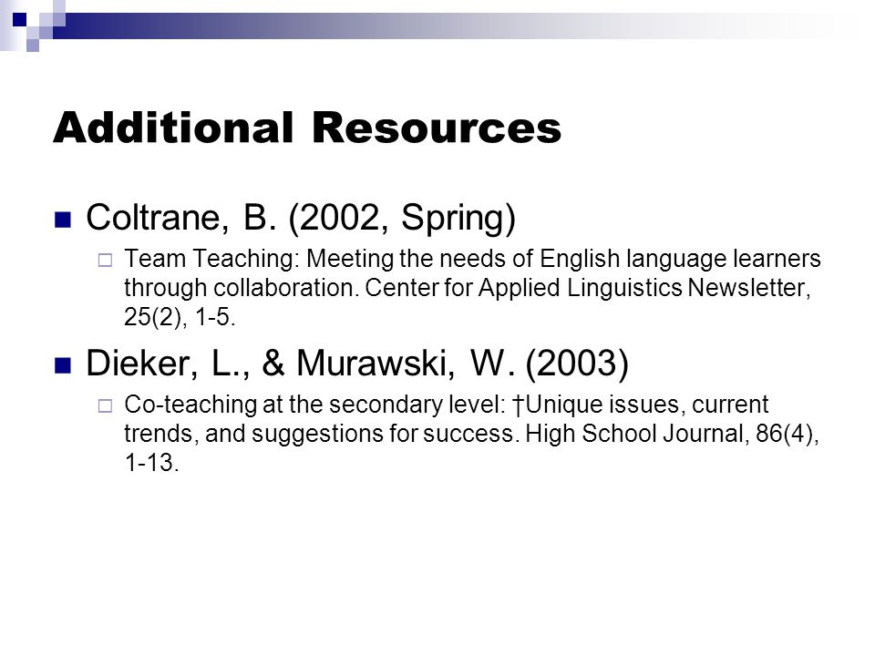Additional Resources Coltrane, B. (2002, Spring)