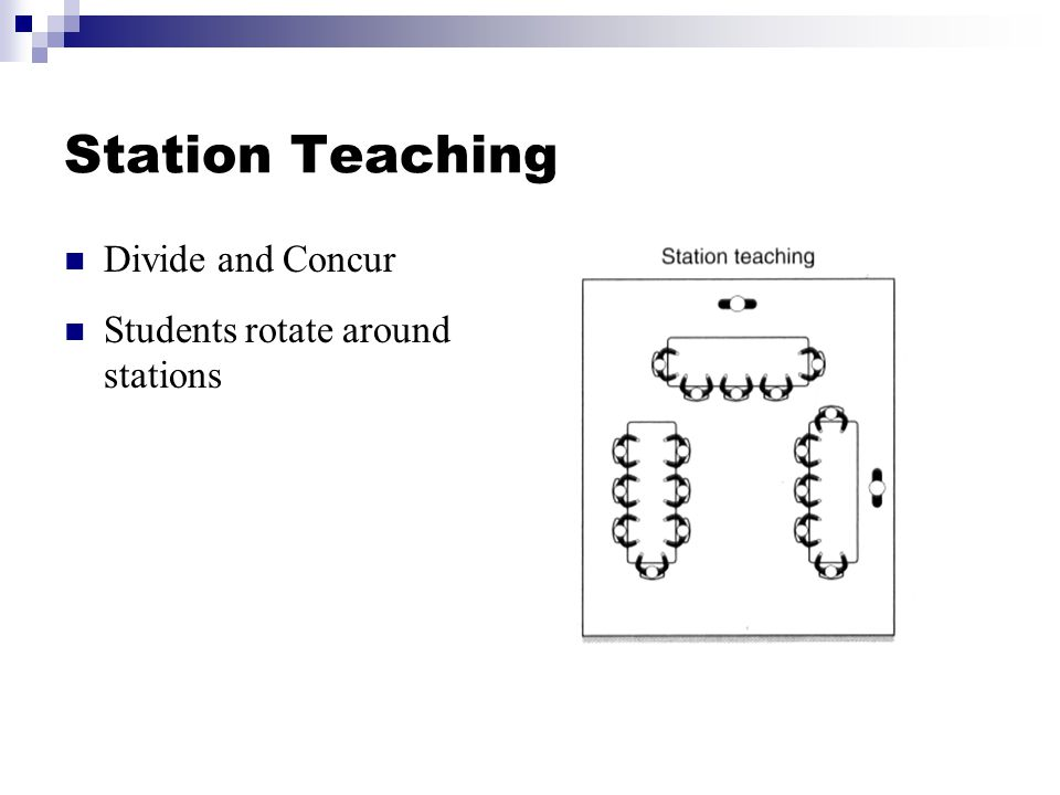 Station Teaching Divide and Concur Students rotate around stations