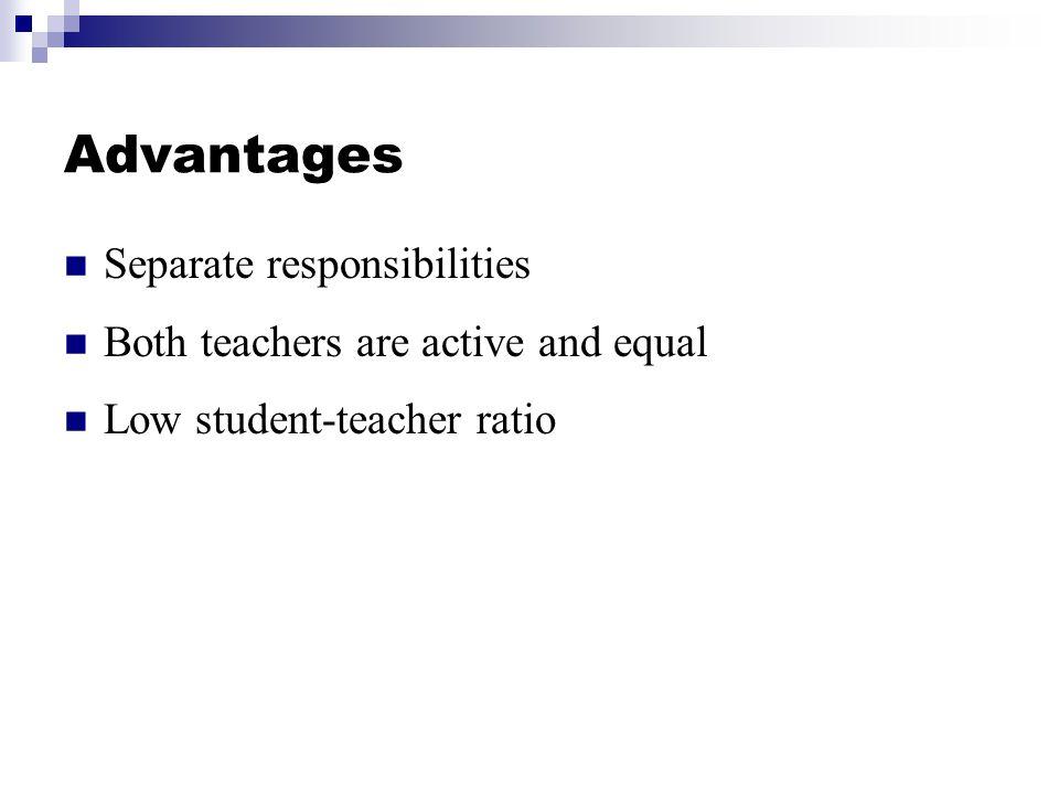 Advantages Separate responsibilities
