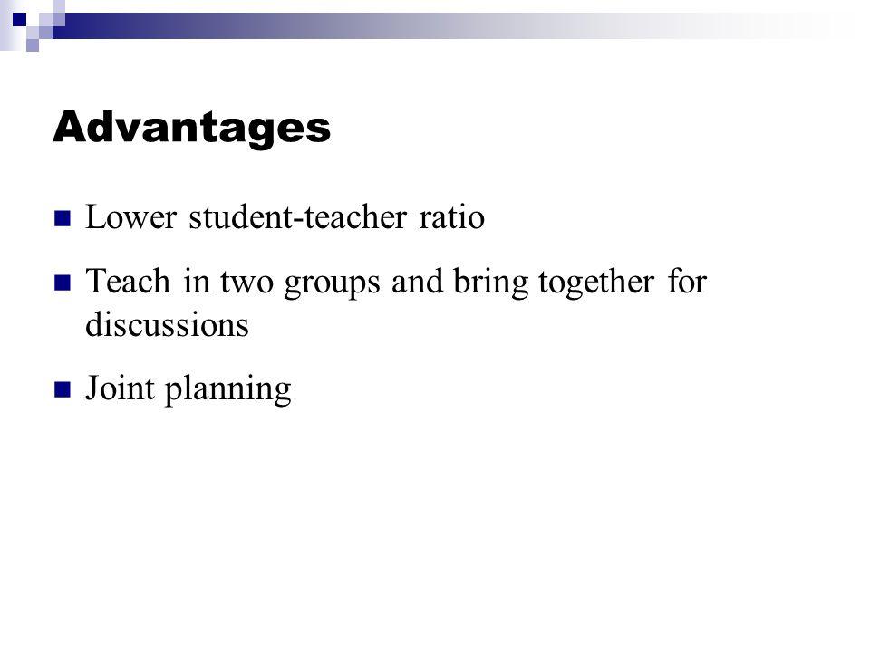Advantages Lower student-teacher ratio